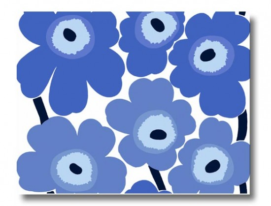 Home-Interior-Decor-with-Marimekko-Fabric-Unikko-Blue-Large-Wall-Hanging-550x419