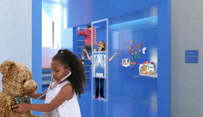"""Hospital de muñecos- Este proyecto corresponde al Milenium Alcobendas. Todo el proyecto se basa en el lema """"niños felices, niños sanos"""", tratando de transmitir a través del diseño del espacio y sus elementos una sensación de confort y confianza."""